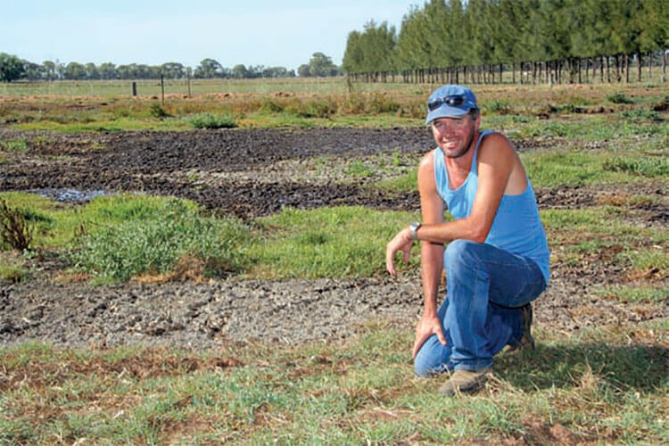 Maarten van Tilborg with the effluent pond at 'Springtilly', Katunga, Victoria seven weeks after treatment. The dark patches show where the thick, dry crust is starting to break up due to increased microbial activity