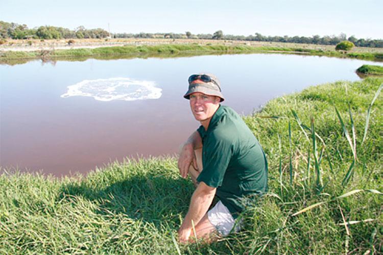 Scott Sieben at his effluent pond