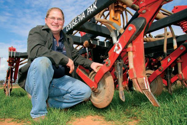 Peter Eisenhauer with his Conserva Pak no-till air seeder at 'Glen Iris', Ganmain, NSW.