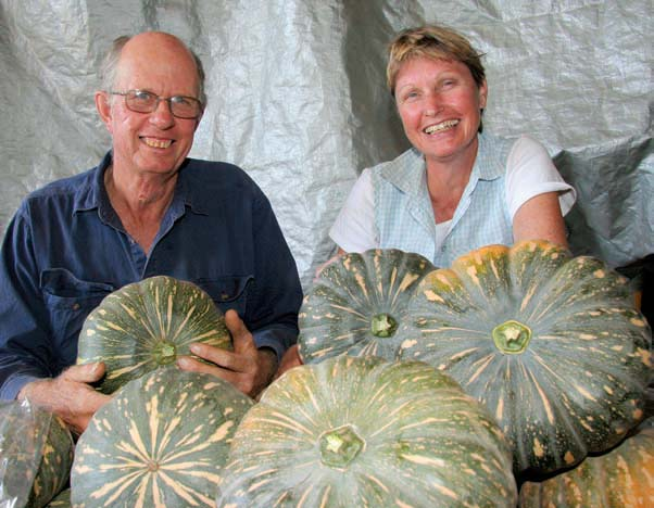 Neill and Gina Wiseman with Kent Special organic pumpkins