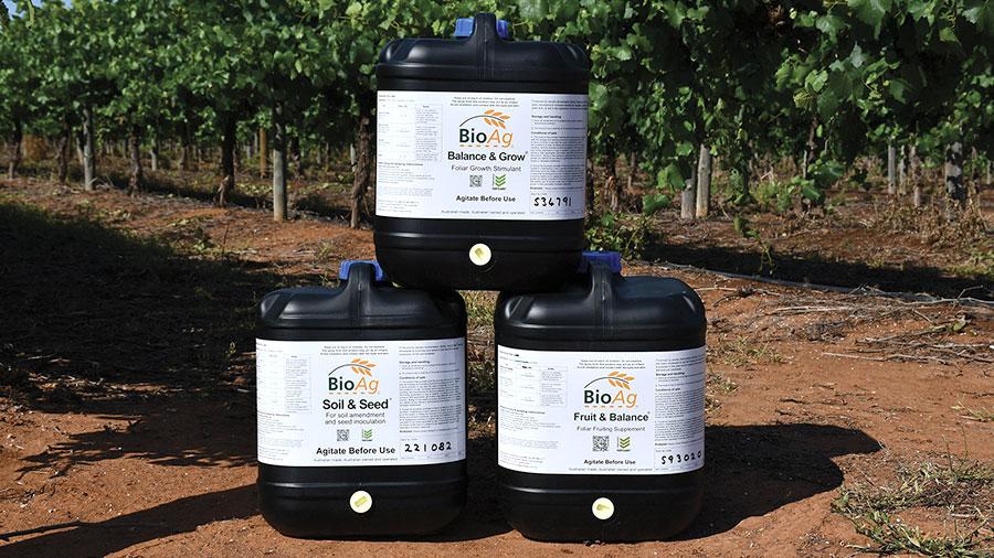 BioAg drums of Soil & Seed, Balance & Grow and Fruit & Balance